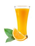 Glass of juice, orange slice with leaves Stock Photography