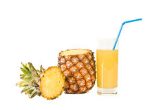 The glass of  juice and ripe pineapple Stock Image