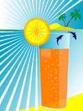 Glass with juice on a sea. Card - a glass with juice on a sea beach in a vector Royalty Free Stock Photos