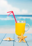 Glass  juice with  straws and  starfish on  background  sea landscape. Stock Images