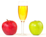 Glass of juice and two apples isolated Stock Photos