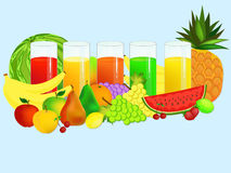 Glass with juices and fruits Stock Photography