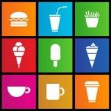Glass, kaffe och snabbmat Arkivbilder