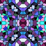 Glass kaleidoscope mosaic seamless pattern background in blue, pink, purple and green colors. Glass kaleidoscope mosaic seamless pattern texture background in Stock Photo