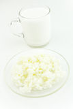 Glass of kefir and kefir grains Royalty Free Stock Image