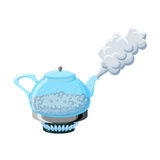 Glass kettle with boiling water and steam. Transparent glass kettle with boiling water and steam on gas stove top isolated on white background. Cartoon vector Stock Photo