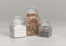 Glass kitchen storage containers Royalty Free Stock Photo