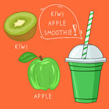 Glass with kiwi apple smoothie. Natural bio drink, healthy organ Royalty Free Stock Photo