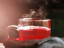 Glass kopp med varmt rött te royaltyfri fotografi