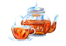 Glass kopp och tekanna av ett svart te Arkivbilder
