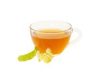 Glass kopp te med linden som isoleras på vit Arkivfoto