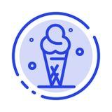 Glass kräm, is, blå prickig linje linje symbol för kotte vektor illustrationer