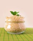 Glass kruka som fylls med quinoaen Arkivbild