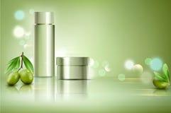 Glass krus för vektor på bokehbakgrund med gröna oliv Elemen Royaltyfria Bilder