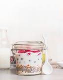 Glass krus med den sunda frukosten: havremjöl, Chia frö, Goji bär, nya bär och yoghurt royaltyfria bilder