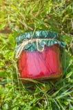Glass krus med jordgubbedriftstopp arkivfoton