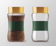 Glass krusmodeller för ögonblickligt kaffe royaltyfri illustrationer