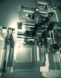 Glass kubabstrakt begreppbakgrund Arkivfoto