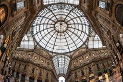 Glass kupol av Galleria Vittorio Emanue Royaltyfria Bilder