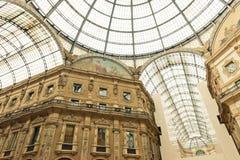 Glass kupol av Galleria Vittorio Emanuele i Milan Royaltyfri Fotografi