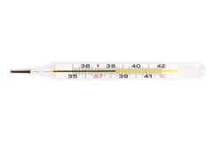 Glass kvicksilverläkarundersökningtermometer royaltyfri fotografi