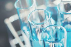 Glass laboratory chemical test in lap room. Science concept.  Stock Photos
