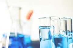 Glass laboratory chemical test in lap room. Science concept.  Stock Photo