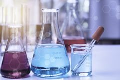 Free Glass Laboratory Chemical Test Tubes With Liquid For Analytical , Medical, Pharmaceutical And Scientific Research Concept Stock Photo - 148143540