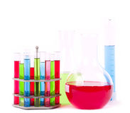 Glass laboratory equipment for science research Royalty Free Stock Photo