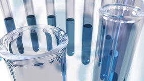 Glass laboratory test tubes close up. A 3D rendered image of laboratory test tubes made of glass. A close up of transparent liquid samples seen from above. An royalty free illustration
