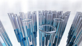 Glass laboratory test tubes in groups. A 3D rendered image of laboratory test tubes made of glass. A close up of transparent liquid samples in a group. An image Stock Photos