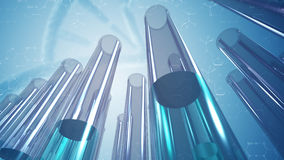 Glass laboratory test tubes and science background. A 3D rendered image of laboratory test tubes made of glass. A close up of transparent liquid samples in a row Royalty Free Stock Photo