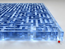 Glass labyrinth. Blue Glass labyrinth on white, 3D stock images