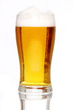 Glass of lager. With a white background and white floor support Royalty Free Stock Photography