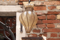 Glass Lamp. On Red Brick Stone Wall Royalty Free Stock Photography