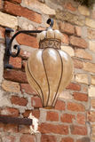 Glass Lamp. On Red Brick Stone Wall Royalty Free Stock Photos