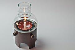Glass lampor med bambu på Whitebackground Fotografering för Bildbyråer