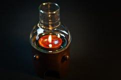 Glass lampor med bambusvartbakgrund Royaltyfria Bilder