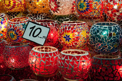 Glass lamps. Various glass lamps for sale at a Turkish store Royalty Free Stock Image
