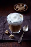 Glass of Latte Coffee with Thick Milk Foam Stock Images