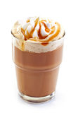 Glass of latte coffee with whipped cream Stock Photos