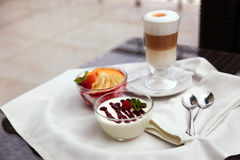 Glass of latte desserts Royalty Free Stock Photography