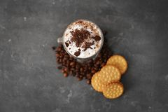 Glass with latte macchiato on background royalty free stock photos