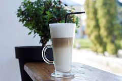 Glass Latte in the morning stock photos