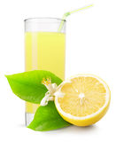 Glass of lemon juice isolated on white background Royalty Free Stock Photography