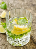 Glass of lemon and mint water Stock Photos