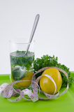 Glass of lemon and parsley on a green tray Royalty Free Stock Photography