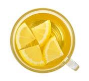 Glass of lemon tea on white background Royalty Free Stock Image