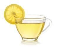 Glass of lemon tea on white background Royalty Free Stock Photos