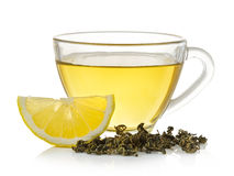 Glass of lemon tea on white background Stock Image